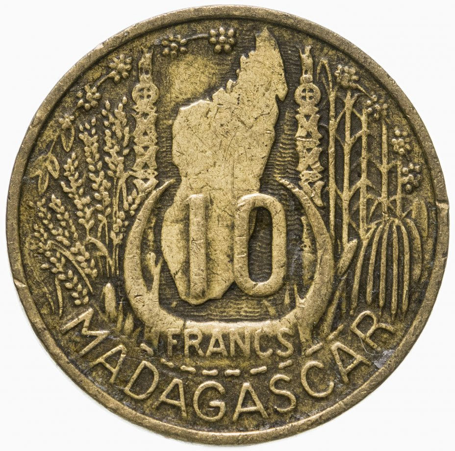 купить Мадагаскар 10 франков (francs) 1953