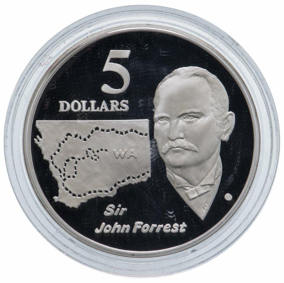 """купить Австралия 5 долларов 1994 """"Путешественники-исследователи: Джон Форрест"""""""