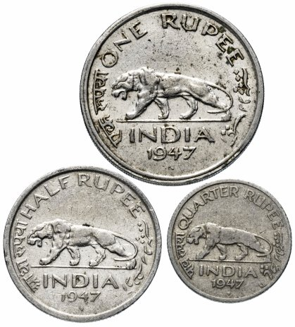 купить Индия набор из 3-х монет 1947
