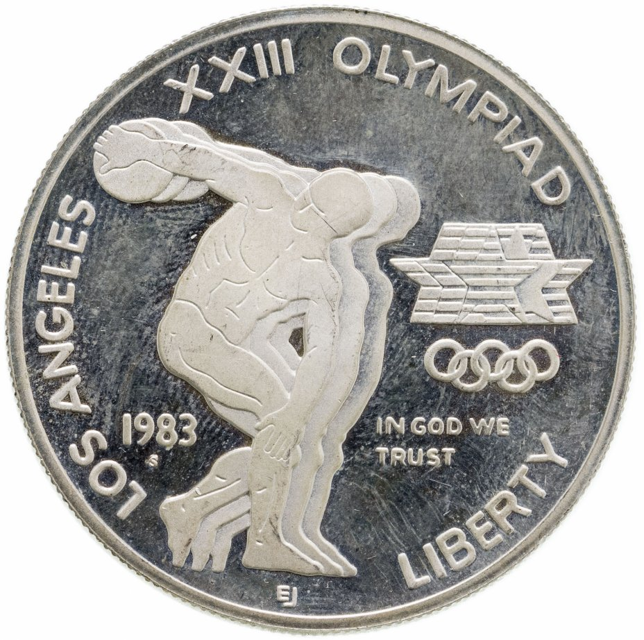 """купить США 1 доллар (dollar) 1983 D XXIII летние Олимпийские Игры 1984 в Лос-Анджелесе знак монетного двора """"D"""" - Денвер"""