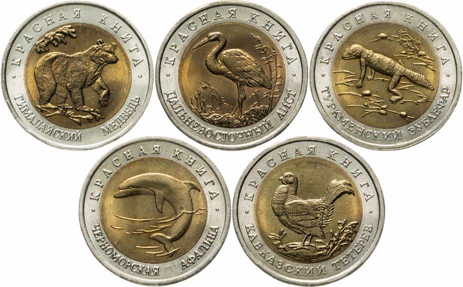 купить Набор из 5 монет  50 рублей 1993 Красная Книга  яркий штемпельный блеск
