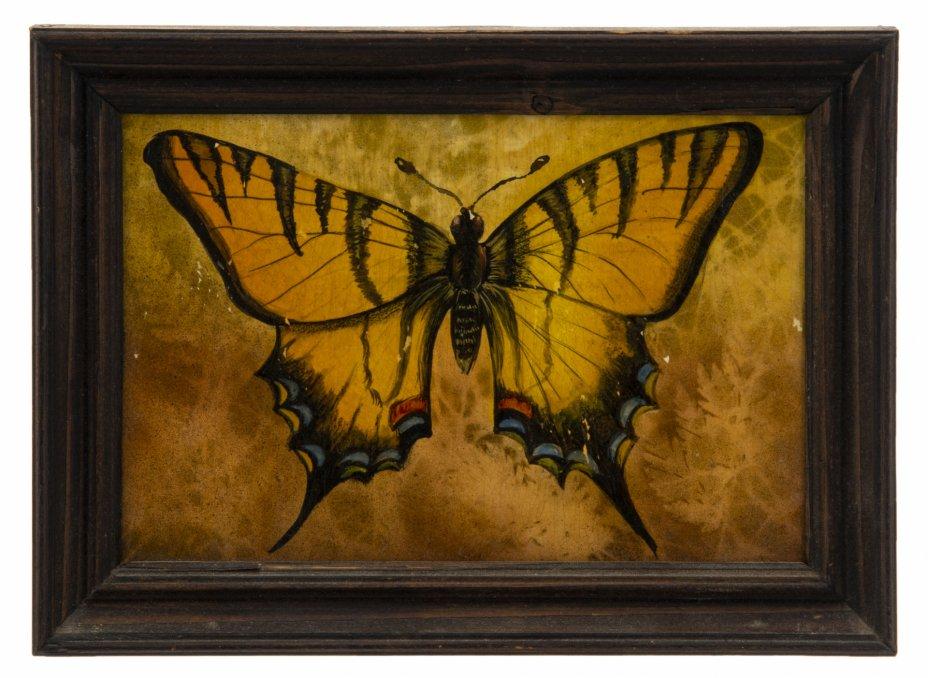 """купить Картина """"Бабочка"""", фанера, живопись в смешанной технике, лак, деревянная рама, Неизвестный художник, Россия, 1991-2000 гг."""