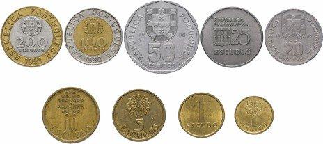 купить Португалия набор монет 1974-2001 (9 штук)