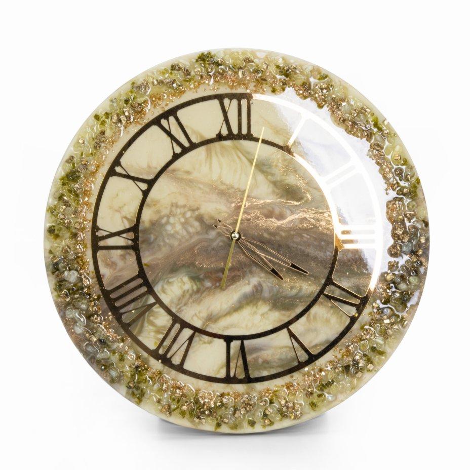купить Часы настенные, авторская ручная работа в технике Resin Art, Глянцевое 3D покрытие, натуральный камень, металл, Россия, 2021 г.