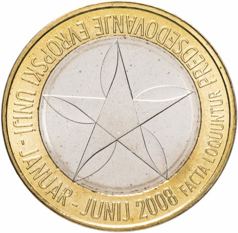 """купить Словения 3 евро 2008 """"Председательство в ЕС"""""""
