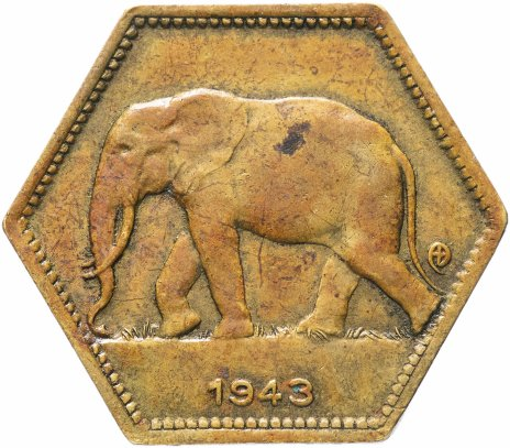 купить Бельгийское Конго 2 франка (francs) 1943     Бельгийское Конго