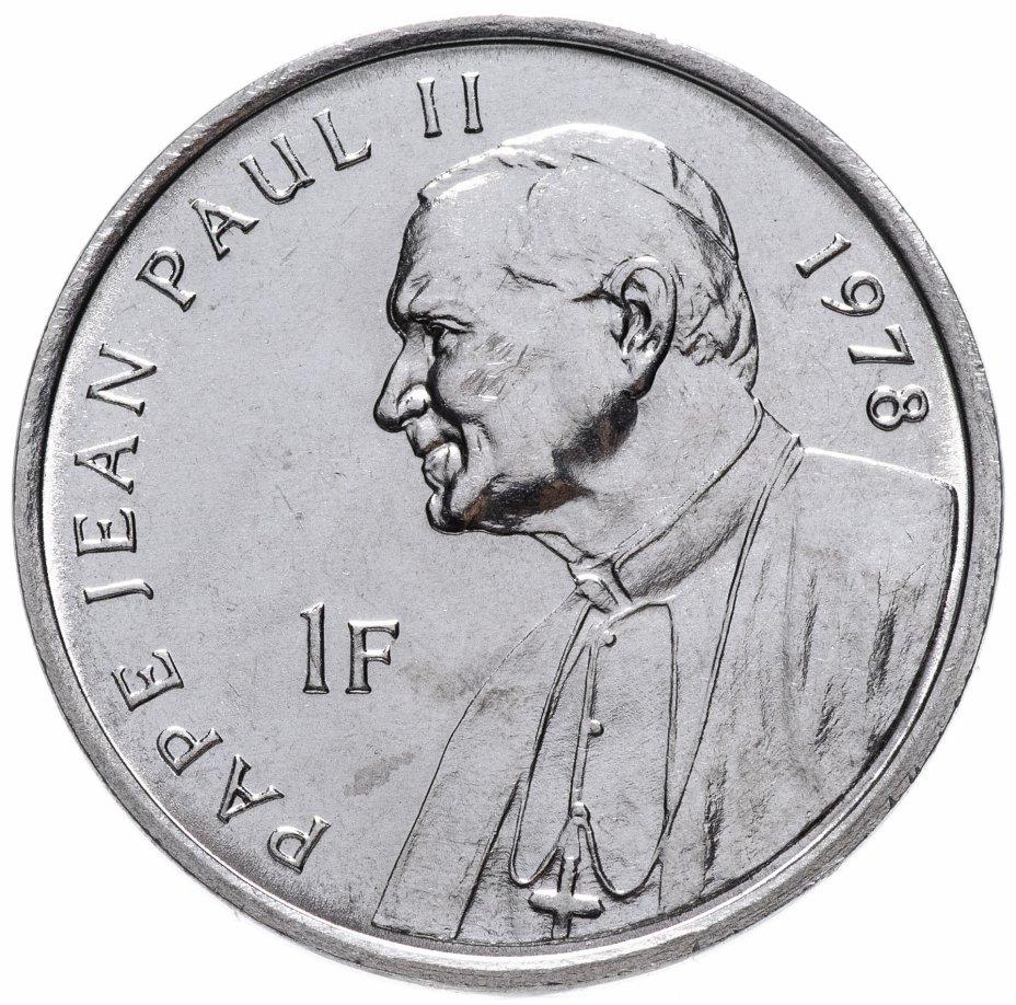 """купить Конго (ДРК) 1 франк (franc) 2004 """"25 лет правления Иоанна Павла II /Папа Иоанн Павел II, 1978"""""""