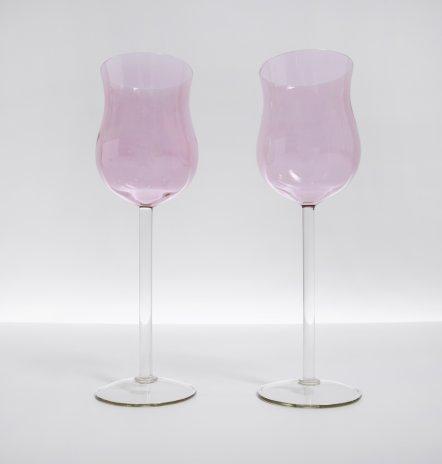 купить Набор из 2 фужеров тюльпанообразной формы цветного стекла , стекло, СССР, 1960-1990 гг.
