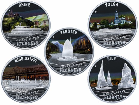 купить Тувалу 1 доллар 2010 набор «Великие реки» из 5 монет