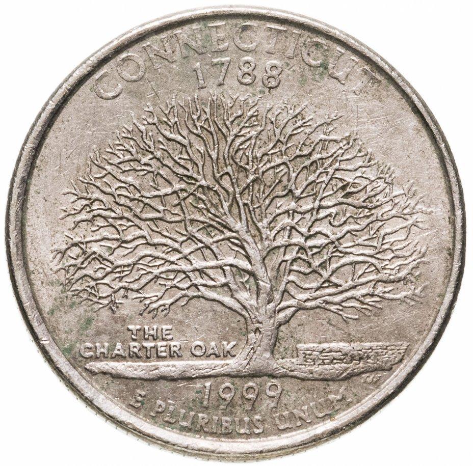 """купить США 1/4 доллара (квотер, 25 центов) 1999 """"Штат Коннектикут"""""""