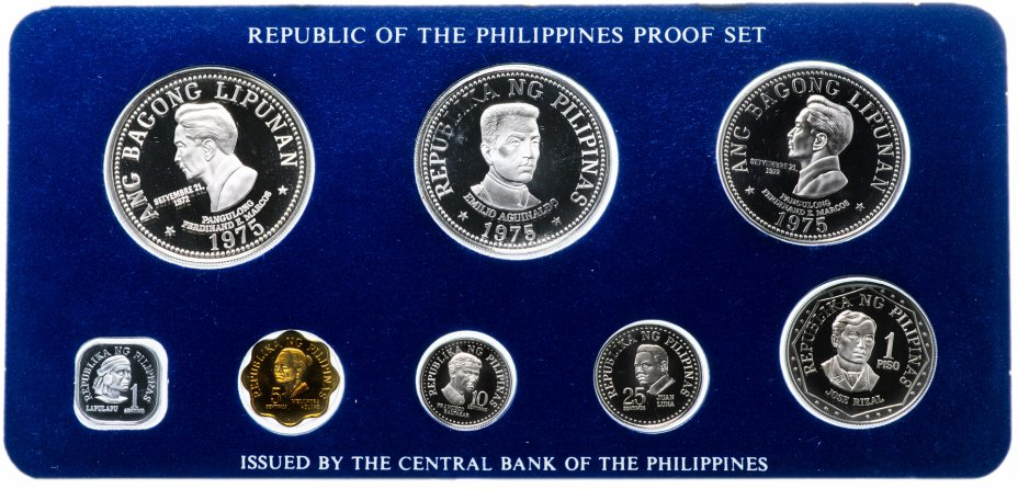 купить Филиппины набор монет 1975 Proof (8 монет в коробке с сертификатом)