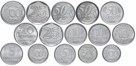 купить Бразилия набор из 15 монет 1977-2007