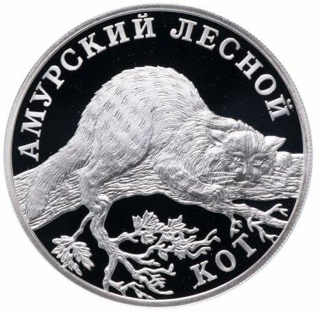 """купить 1 рубль 2004 СПМД Proof """"Красная книга: амурский лесной кот"""""""
