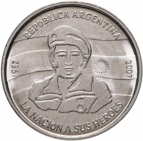 купить 2 песо (pesos) 2007   25 лет оккупации Фолклендских островов Ребристый гурт Аргентина