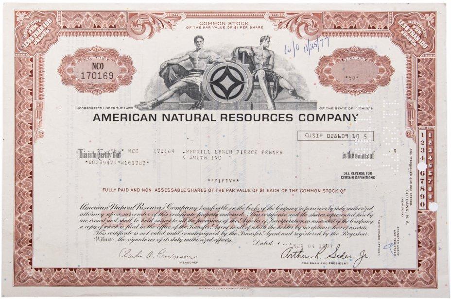 купить Акция США AMERICAN NATURAL RESOURCES COMPANY, 1977 г.