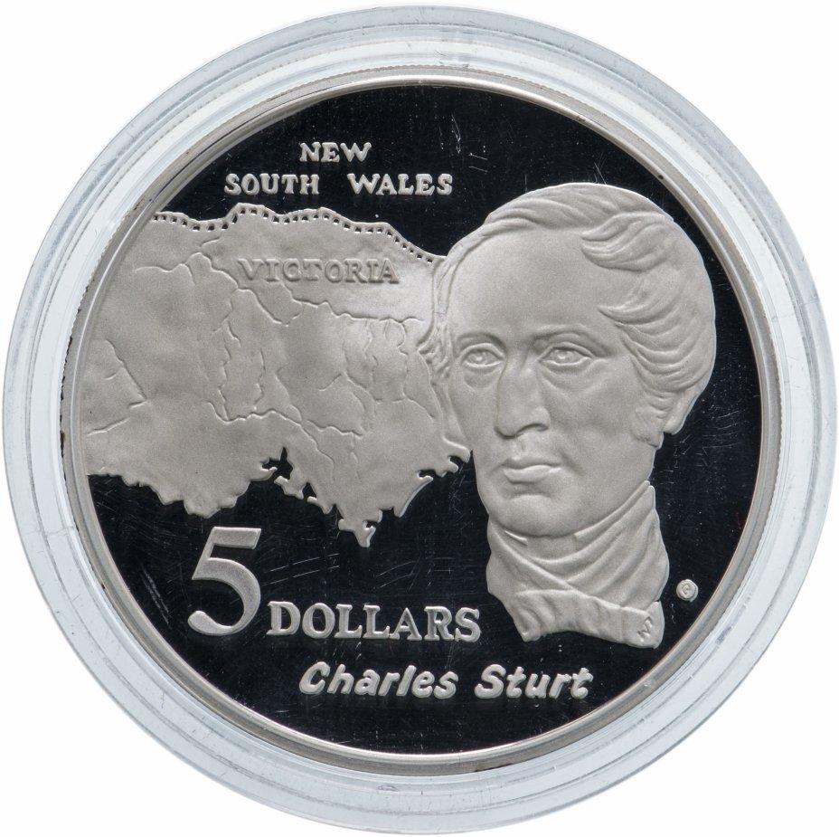 """купить Австралия 5 долларов 1994 """"Путешественники-исследователи: Чарльз Стюарт"""""""