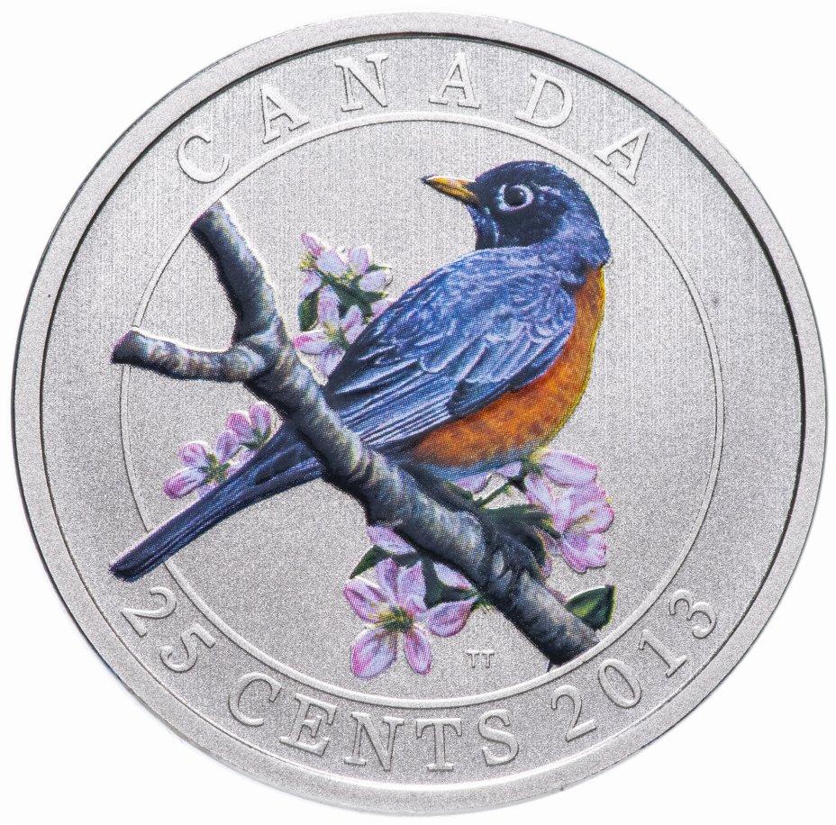 """купить Канада 25 центов 2013 """"Птицы Канады -  Странствующий дрозд"""" в футляре, с сертификатом"""