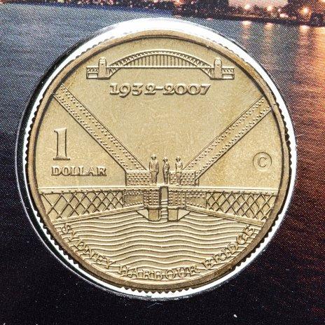 """купить Австралия 1 доллар  2007 юбилейная - """"75 лет мосту Харбор-Бридж"""" UNC в запайке"""