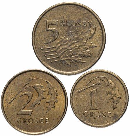 купить Польша набор из 3 монет 1, 2 и 5 грошей 1990-2019, случайная дата
