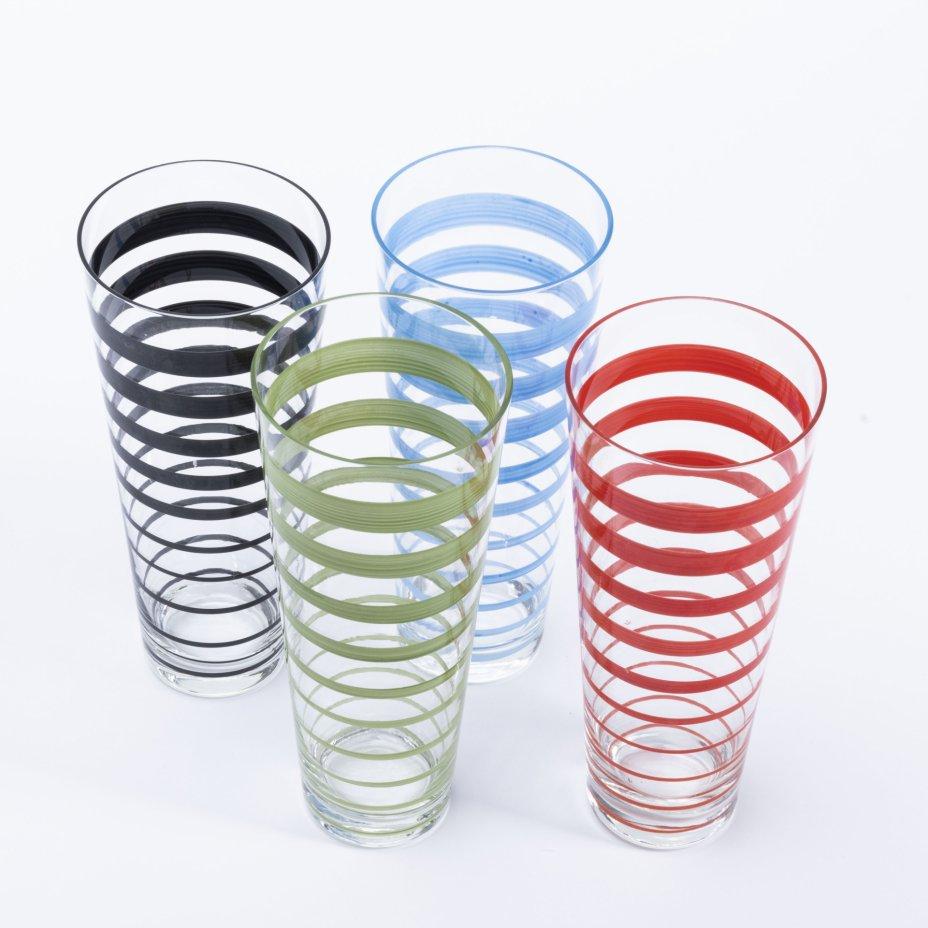 купить Набор из 4 стаканов с дизайном в виде полос, стекло, крытье, Чехия, 1980-2000 гг.