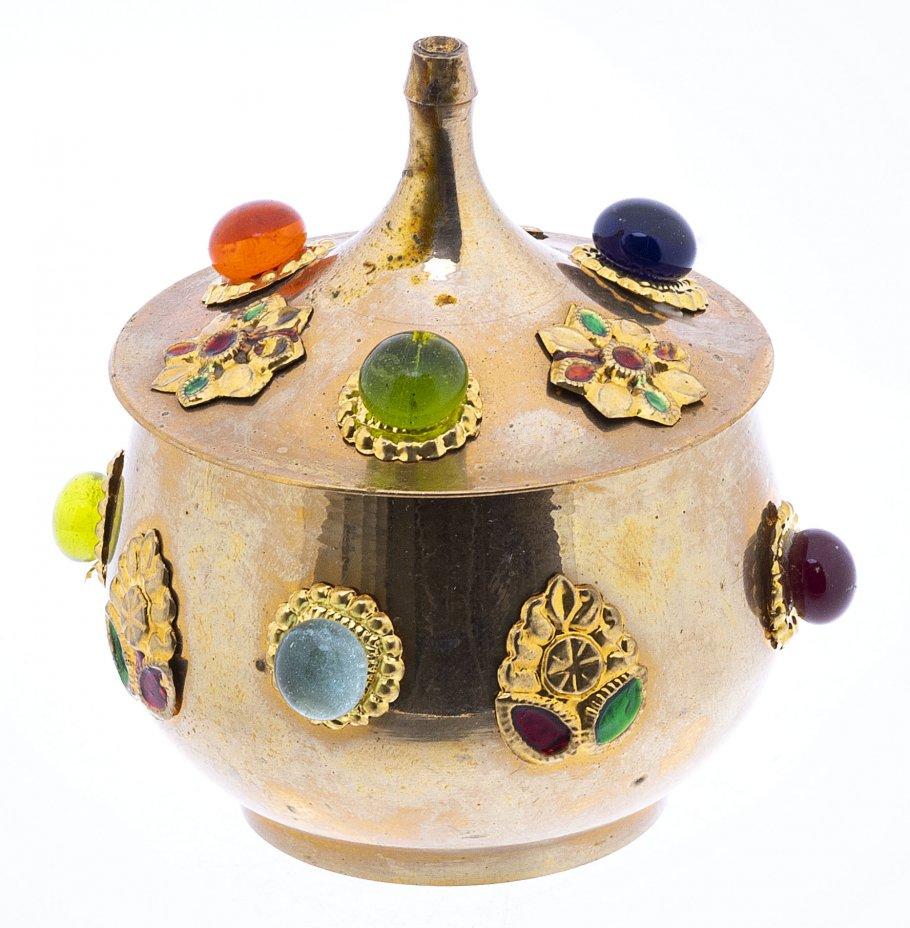 купить Шкатулочка с крышкой и цветочным декором,  латунь, стекло, Индия, 2000-2015 гг.