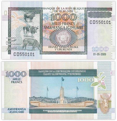 купить Бурунди 1000 франков 2009 (Pick 46) Красивый номер 550101