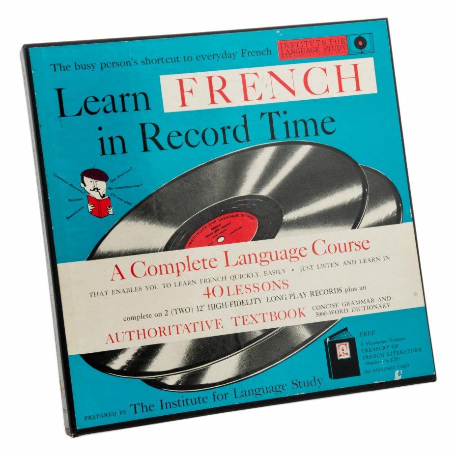 купить Набор из двух пластинок и самоучителя по французскому языку, винил, картон, бумага, печать, Institute For Language Study, США, 1958 г.