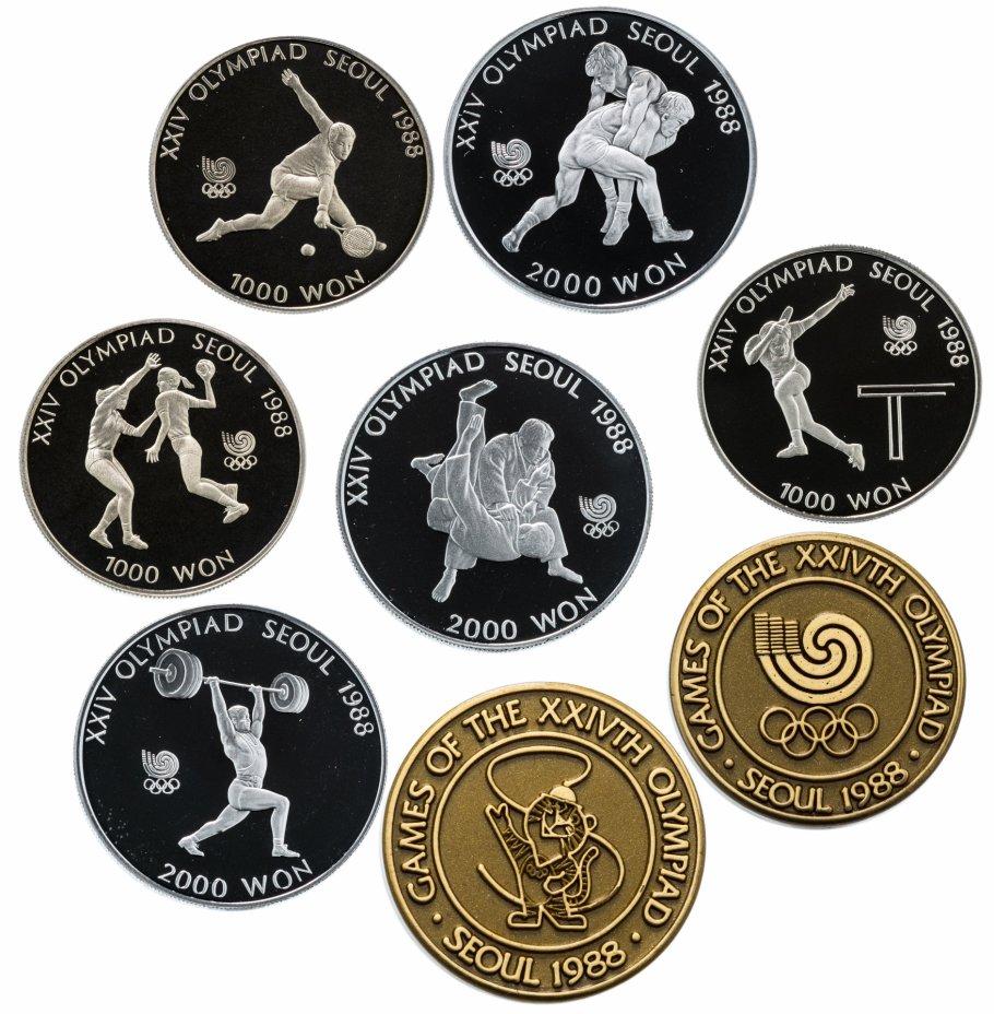 """купить Южная Корея набор монет """"Олимпиаде в Сеуле"""" 1988 Proof (6 монет и 2 медали)"""