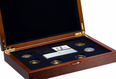 """купить Бермудские острова набор из 6 золотых монет 3 доллара 2007 """"Памяти погибшим кораблям"""" в подарочной шкатулке с сертификатами"""