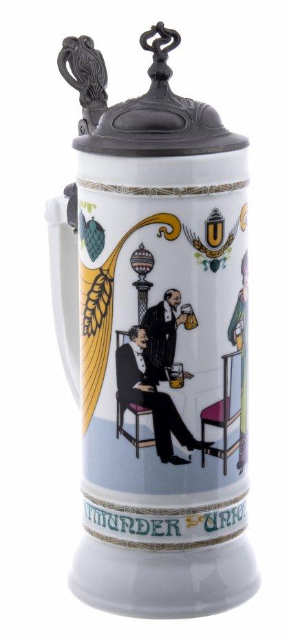 купить Кружка пивная литровая с крышкой в стиле Ар-Деко, фарфор, олово, роспись, ручная работа,  Германия, 1982 г.