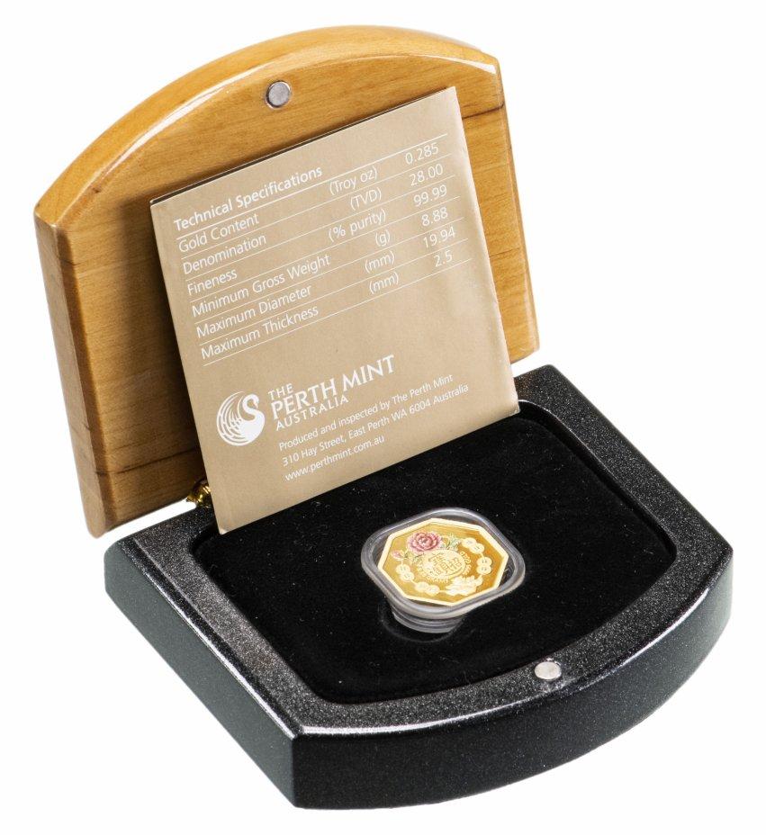 купить Тувалу 28 долларов 2008 символы удачи, в футляре с сертификатом (золотая монета необычной формы)