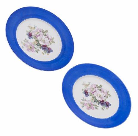 купить Набор из двух обеденных тарелок с цветочным декором, фарфор, деколь, крытье, Limoges, Франция, 1970-1990 гг.