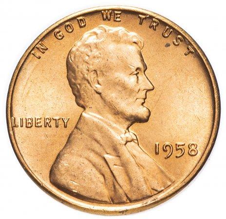 купить США 1 цент 1958 без буквы монетного двора