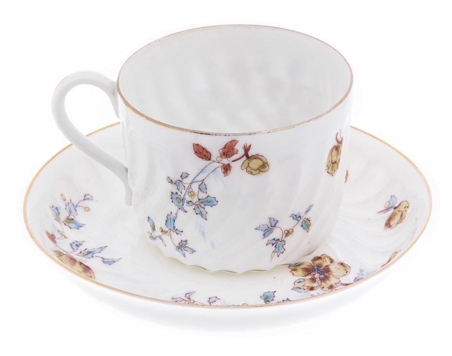 купить Пара чайная с цветочным декором и рельефным бортом, фарфор, деколь, мануфактура Гарднера, Российская Империя, 1880-1910 гг.
