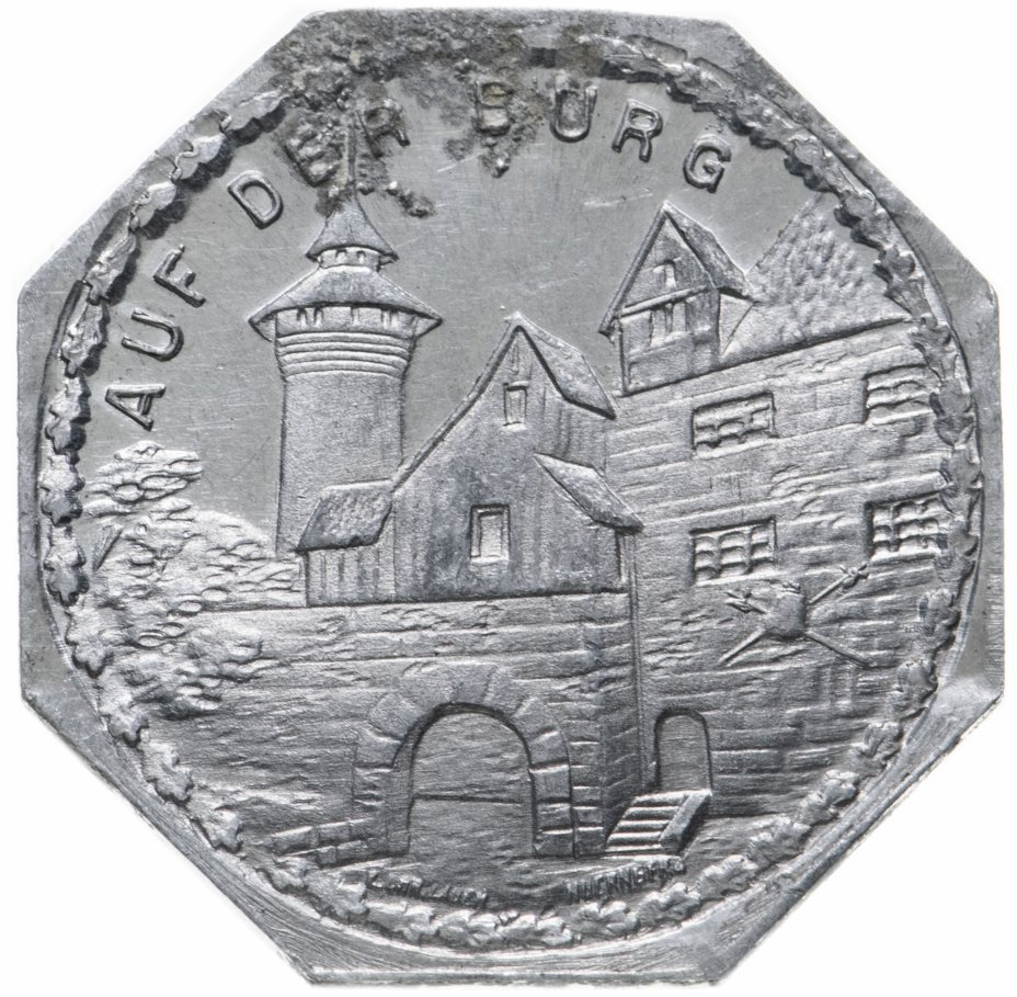 """купить Германия (Нюрнберг) нотгельд  20 пфеннигов 1921 """"Внутри замка"""" трамвайный жетон"""