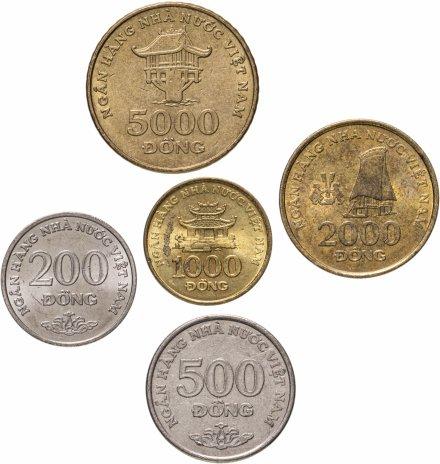 купить Вьетнам набор из 5-и монет 200, 500, 1000, 2000 и 5000 донгов 2003