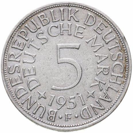 """купить Германия 5 марок (deutsche mark) 1951 F  знак монетного двора: """"F"""" - Штутгарт"""