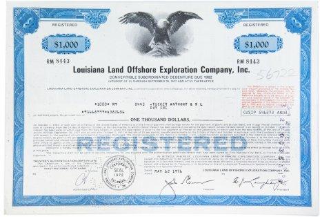 купить Акция США louisiana Land Offshore Exploration Company, Inc. 1976