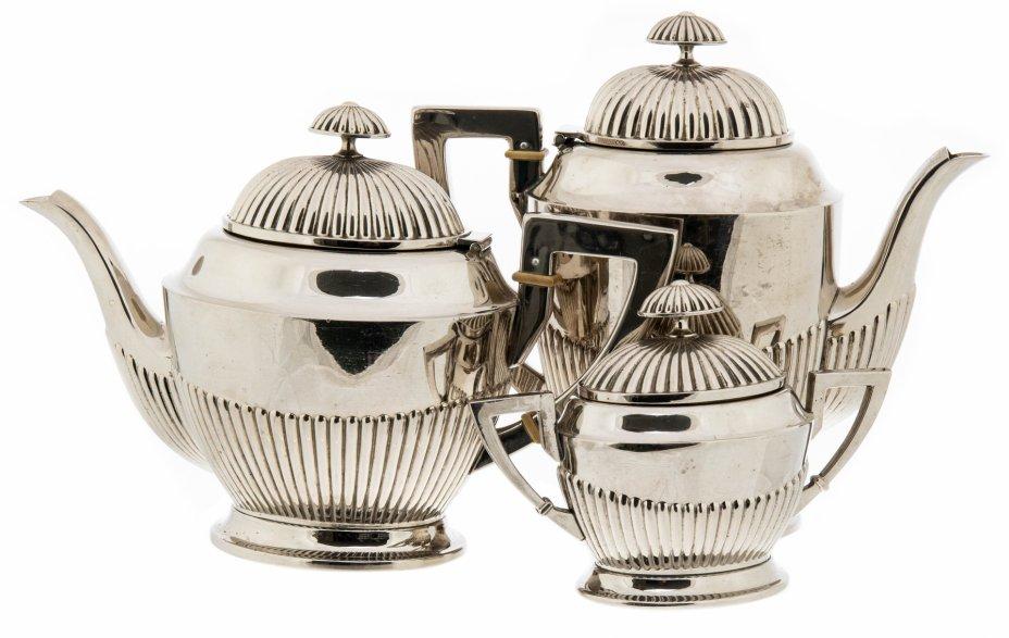 купить Чайно-кофейный набор из трех предметов, сплав металла, вставки из дерева, Западная Европа, 1930-1960 гг.