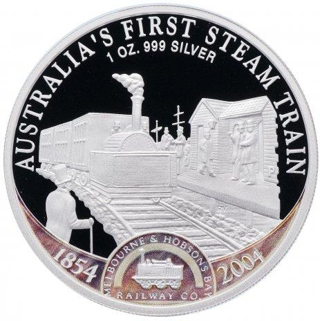 """купить Острова Кука 1 доллар 2004 Proof """"150 лет железным дорогам Австралии, первый паровоз"""""""
