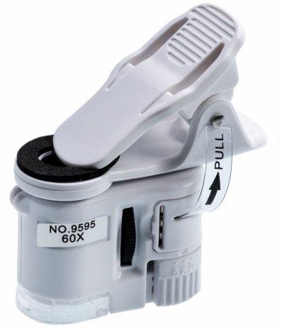 купить Микроскоп-прищепка для камеры мобильного телефона с 60-кратным увеличением, с подсветкой