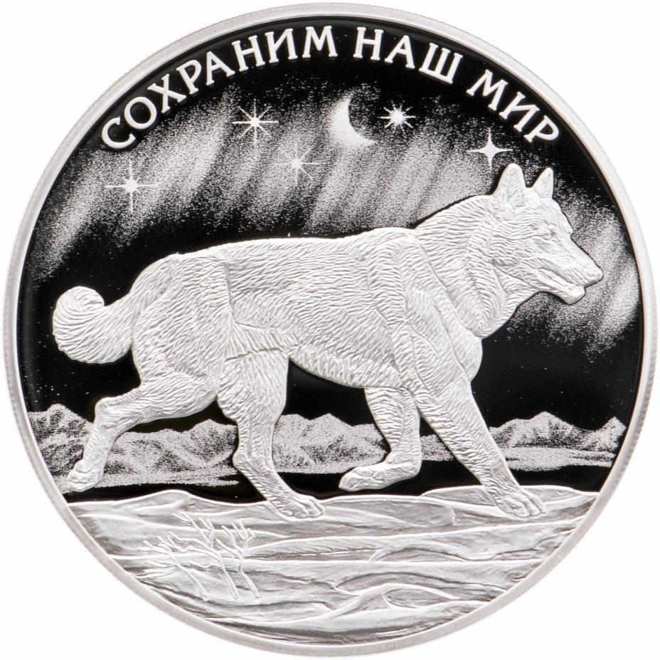 купить 3 рубля 2020 СПМД Полярный волк, в футляре