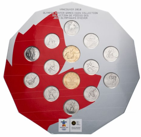 """купить Канада набор монет 25 центов - 1 доллар  2010 серия """"Олимпиада в Ванкувере"""" (14 монет) в буклете"""