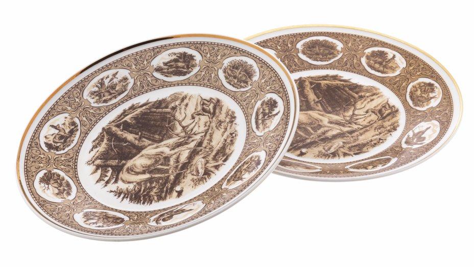 """купить Набор из двух десертных тарелок """"Охота"""", фарфор, деколь, мануфактура """"Wallendorf"""", Германия, 1963-1990 гг."""