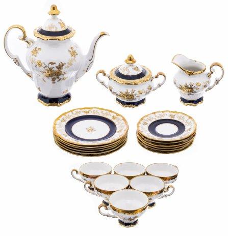 """купить Чайный сервиз с цветочным декором на 6 персон (21 предмет), фарфор, кобальт, золочение, мануфактура """"Weimar"""", Германия, 1970-1990 гг."""