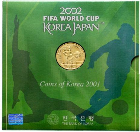 """купить Южная Корея набор монет 2001 """"Чемпионат мира по футболу 2002- Корея/Япония"""" (6 монет и жетон в буклете-подставке)"""