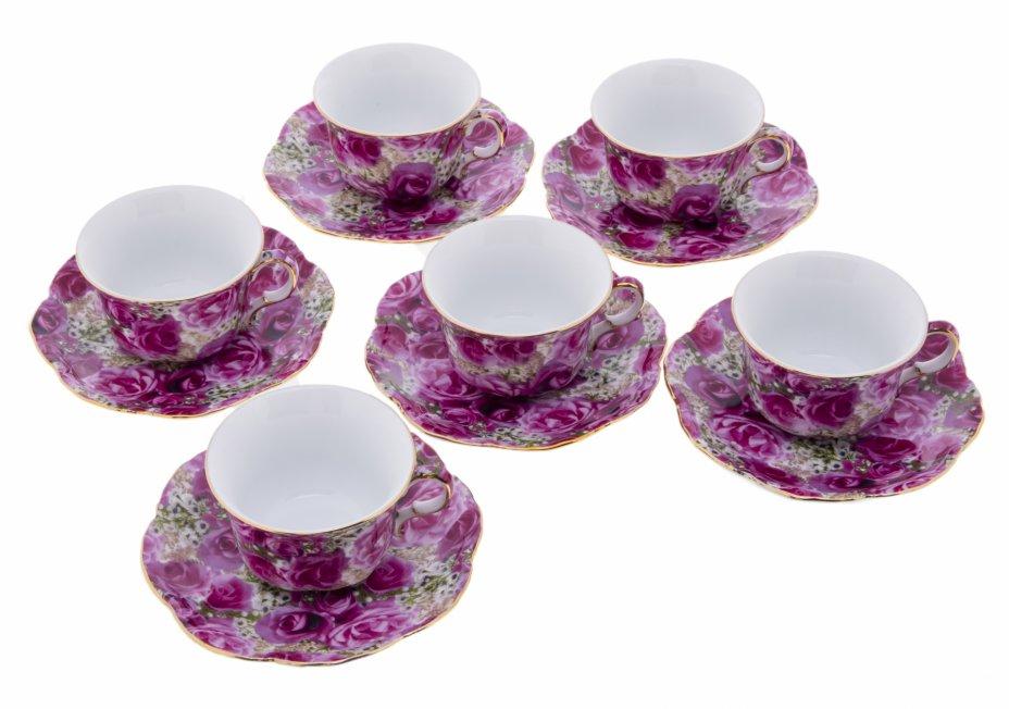 """купить Набор чайных пар на шесть персон с декором в виде роз, фарфор, деколь, золочение, фирма """"Royal Heritage Porcelain"""", Япония, 2000-2015 гг."""