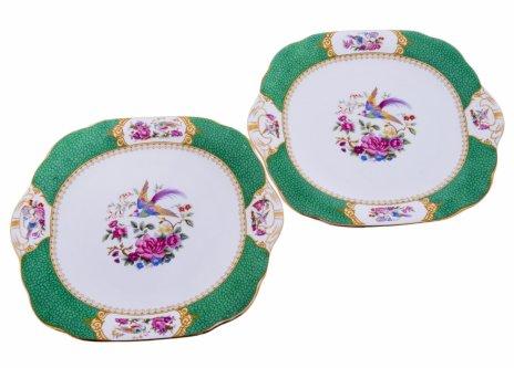 купить Набор из двух тарелок с изображением райских птиц, фарфор, деколь, Великобритания, 1930 гг.