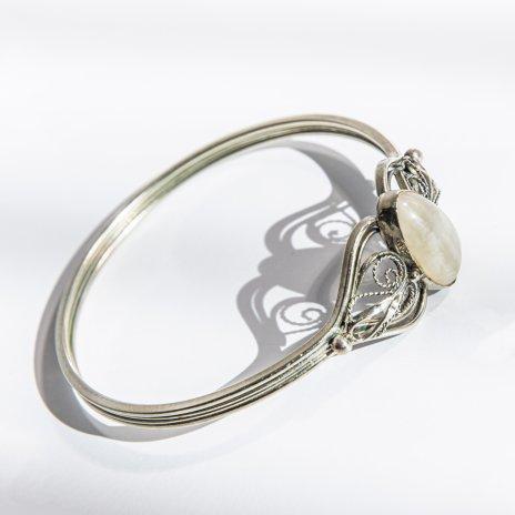 купить Браслет со вставкой из натурального камня, латунь, серебрение, скань, камень, СССР, 1970-1990 гг.