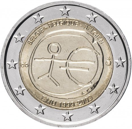 """купить Бельгия 2 евро 2009 """"10 лет Экономическому и валютному союзу"""""""
